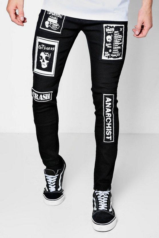Super Skinny Jeans With Punk Patchwork