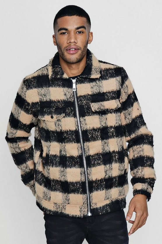 Brushed Check Wool Look Trucker Jacket