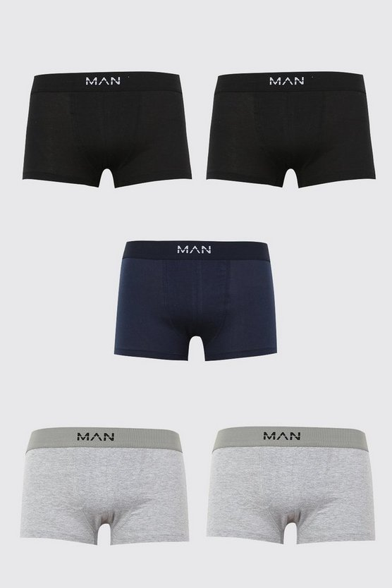 Mens Multi 5 Pack Basic MAN Trunks