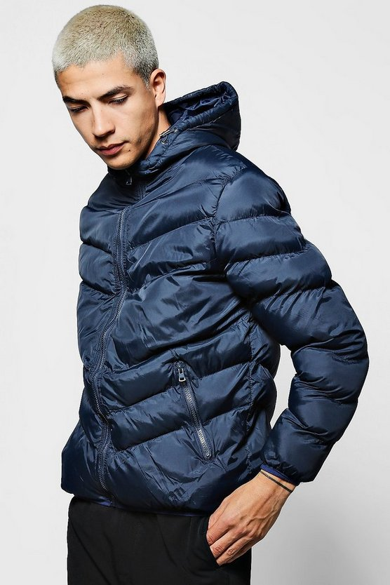 Mens Navy Hooded Quilted Jacket