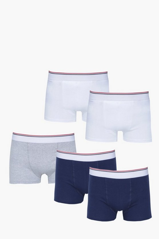 5 Pack Trunks With Sport Stripe Waist Band