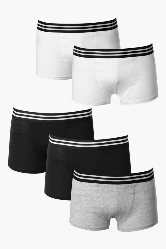 5 Pack Trunks With Stripe Waist Band