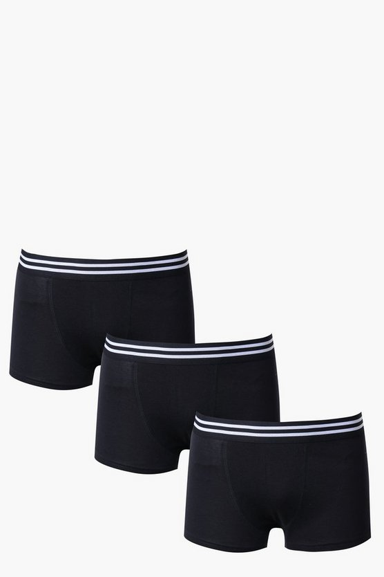3 Pack Trunks With Stripe Waist Band