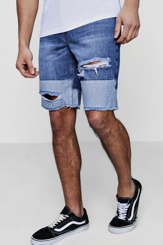 Contrast Panel Bermuda Denim Shorts