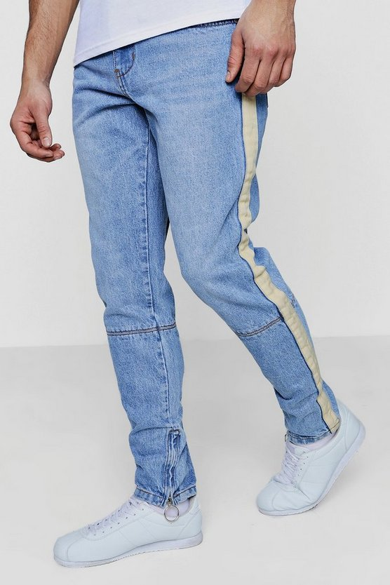 Skinny Fit Jeans With Taping Detail & Zip Hem