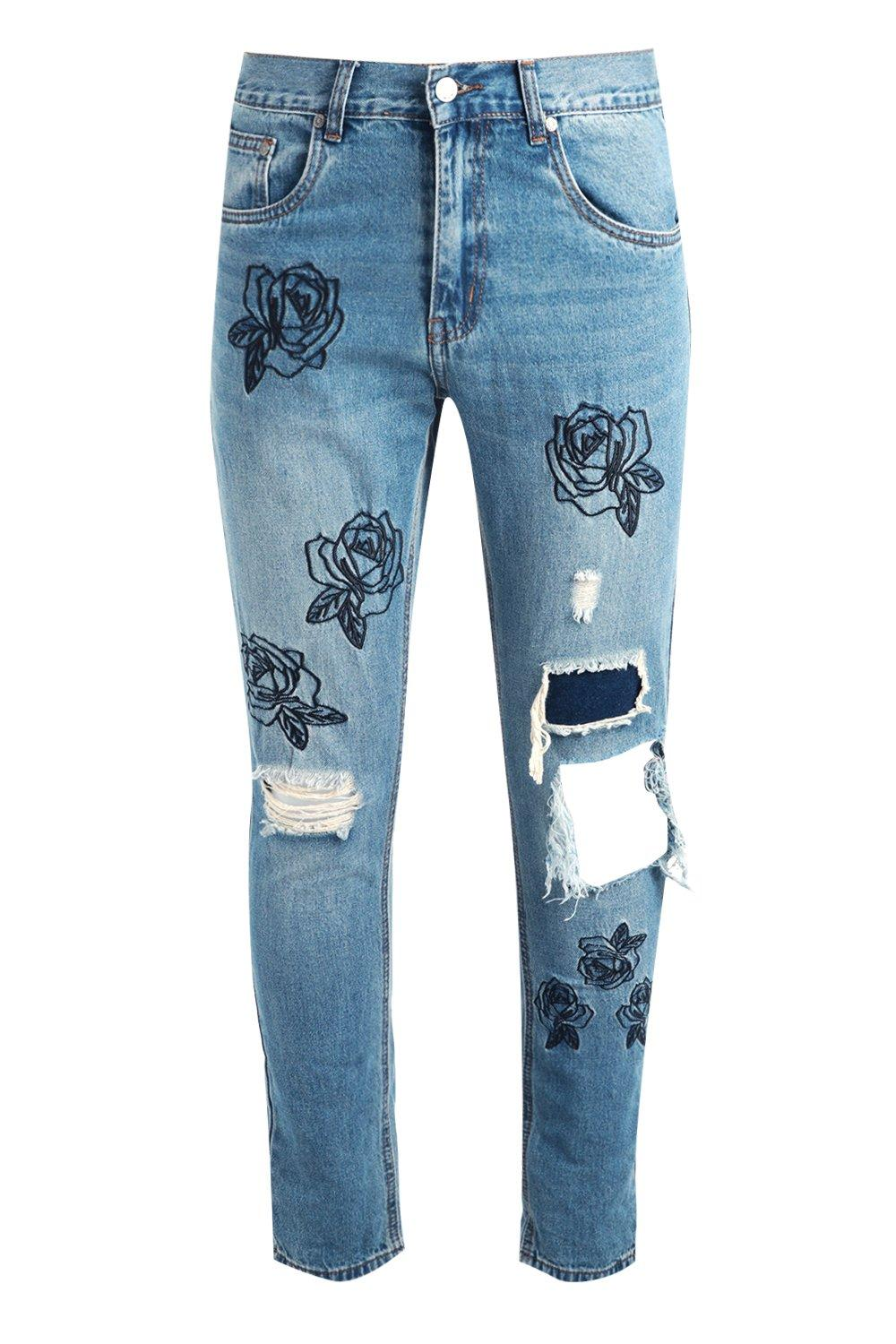Boohoo mens skinny floral embroidered rip repair jeans