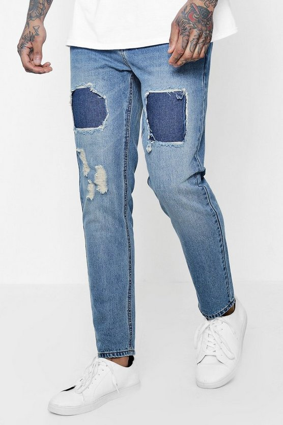 Slim Fit Jeans with Repaired Thigh Detail