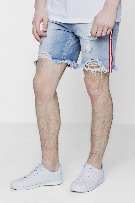 Mens Vintage wash Distressed Bermuda Denim Shorts with Taping