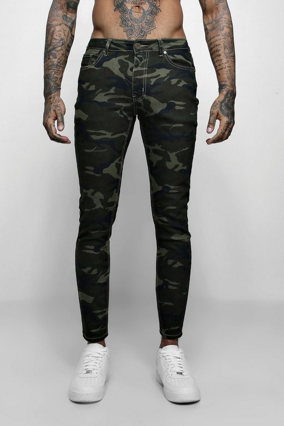 Skinny Fit Camo Print Jeans