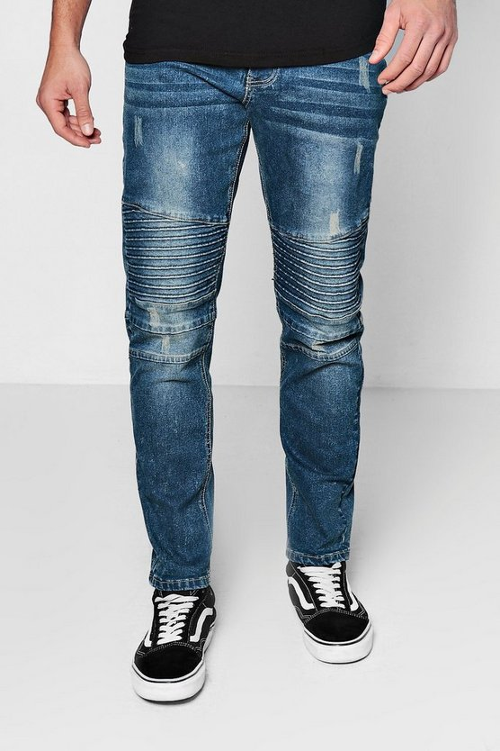 Slim Fit Antique Wash Denim Biker Jeans