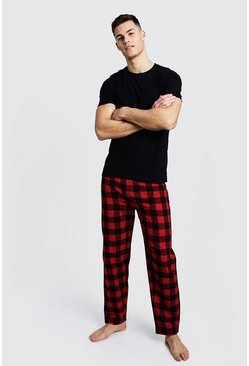 Brushed Man Pyjama Pants with Tee Set, Red, HOMBRE