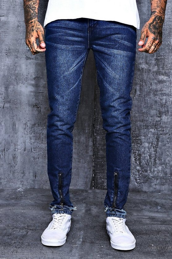 Skinny Fit Zipped Faux Hem Denim Jeans
