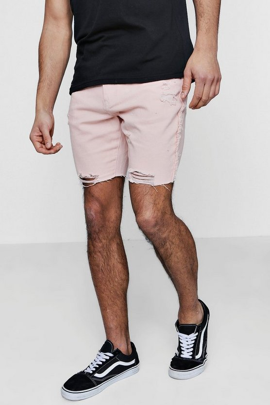 Mens Dusky pink Slim Fit Raw Seam Distressed Denim Shorts