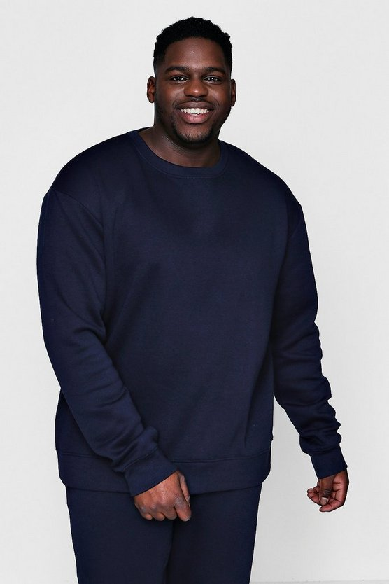Mens Navy Big And Tall Basic Fleece Sweater