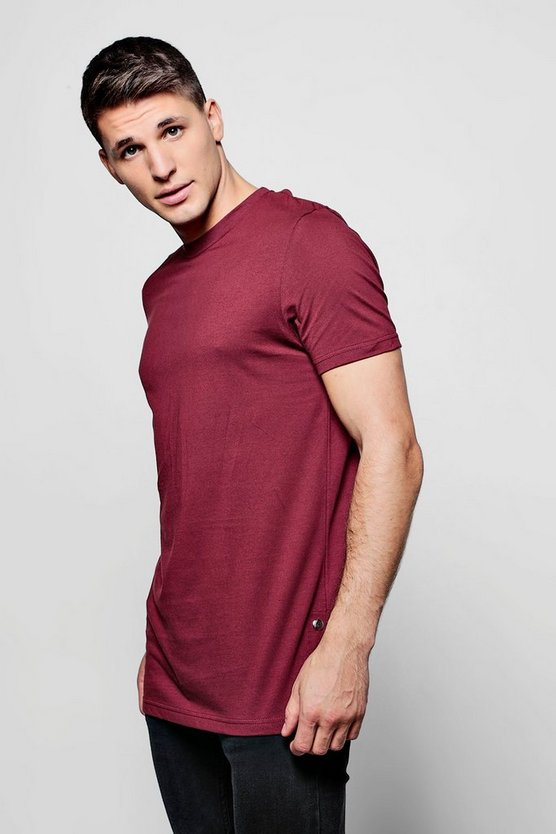 Longline T-Shirt With Poppers