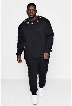 Mens Black Big And Tall Star Embroidered Sweat Tracksuit