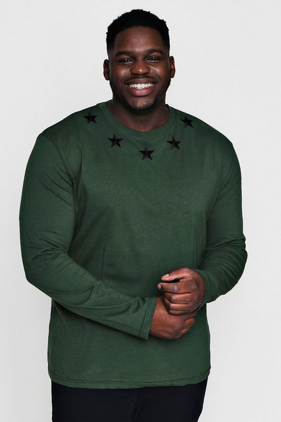 Big And Tall Long Sleeve Embroidered T-Shirt