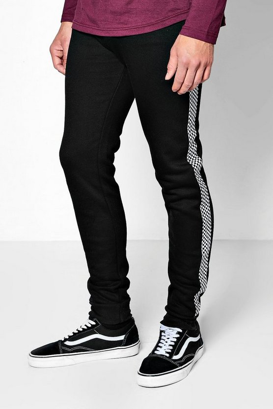 Black Skinny Jogger With Checkerboard Tape