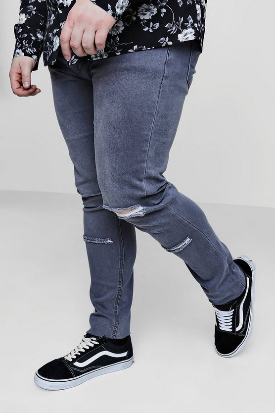 Big And Tall Skinny Fit Double Rip Knee Jeans