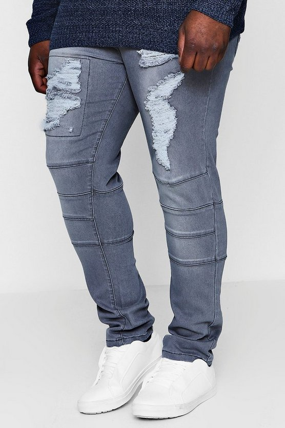 Big And Tall Skinny Fit Panelled Ripped Jeans