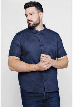 Big And Tall - Chemise Oxford à manches courtes, Marine, Homme