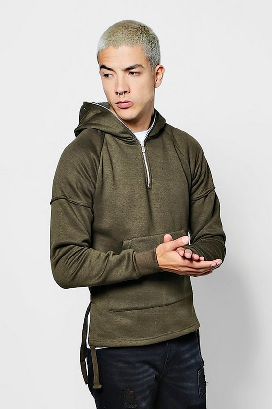 Mens Over The Head Hoodie With Zip And Step Hem