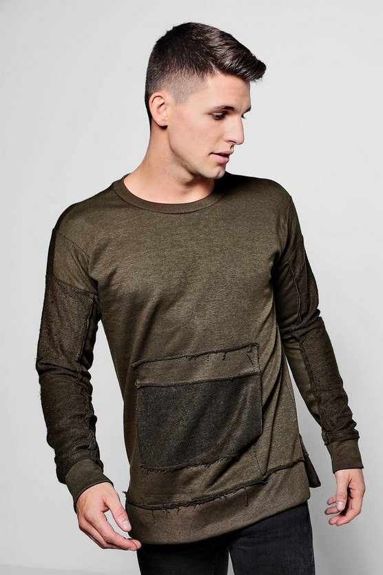 Mens Khaki Raw Edge Sweater With Pocket