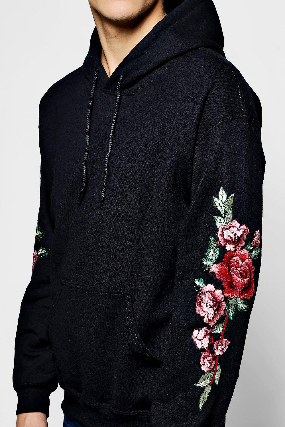 Boohoo mens floral embroidered over the head hoodie ebay