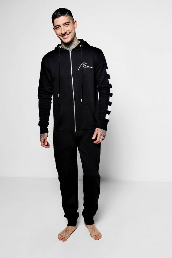MAN Black Onesie With Checkerboard Sleeves