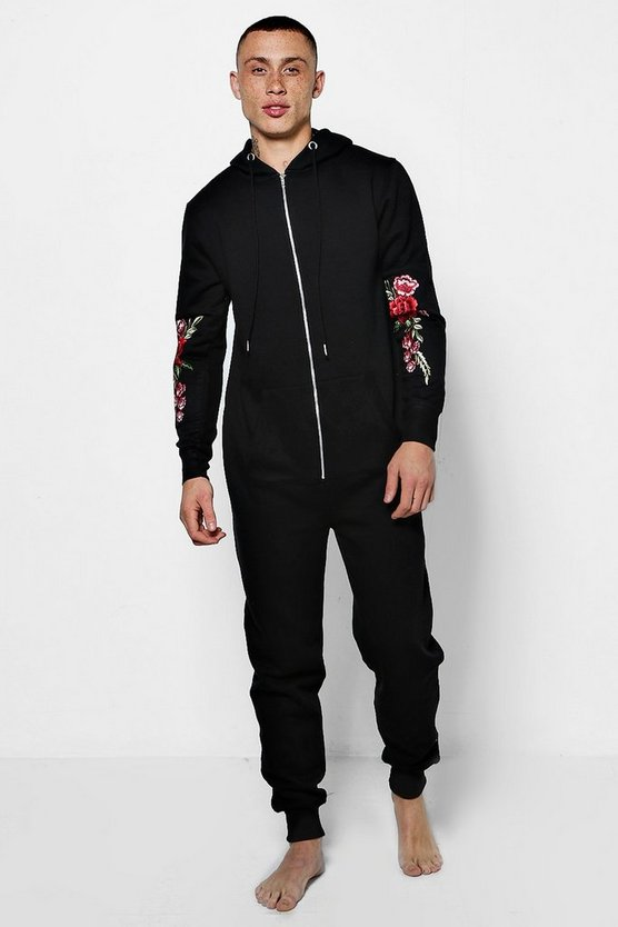 Black Onesie With Rose Embroidery On Sleeves
