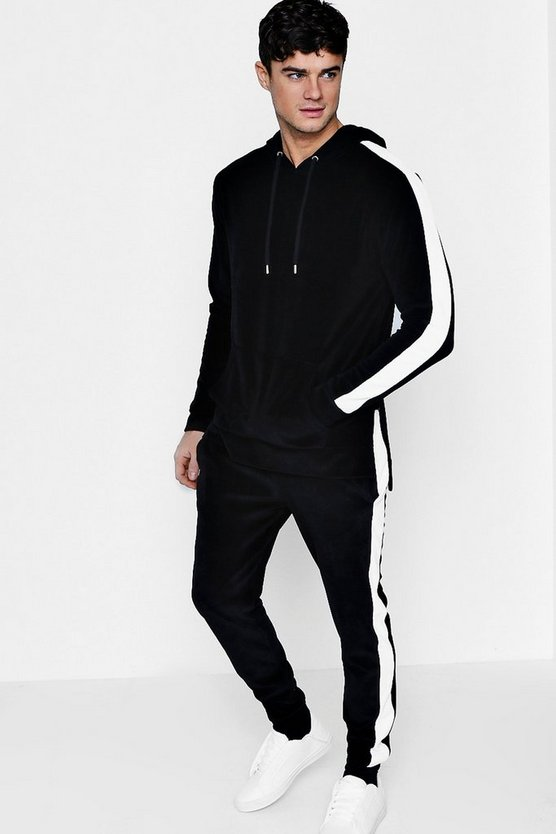 Skinny Fit Velour Hooded Tracksuit With Side Panels