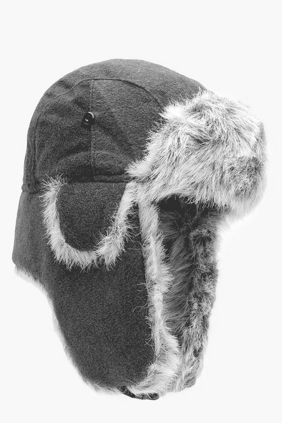 Grey Faux Fur Lined Fleece Trapper