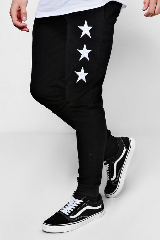 Skinny Fit Star Embroidered Velour Joggers
