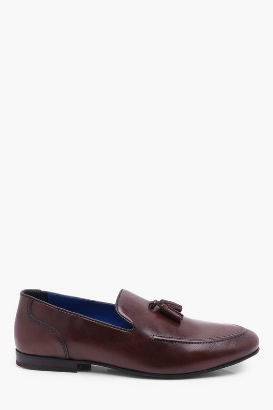 Brown Leather Tassel Loafer