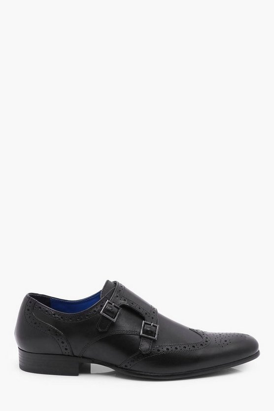 Black Leather Brogue with Monk Strap
