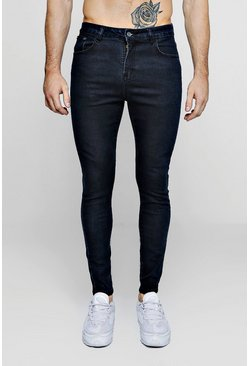 Mens Spray On Skinny Washed Indigo Jeans