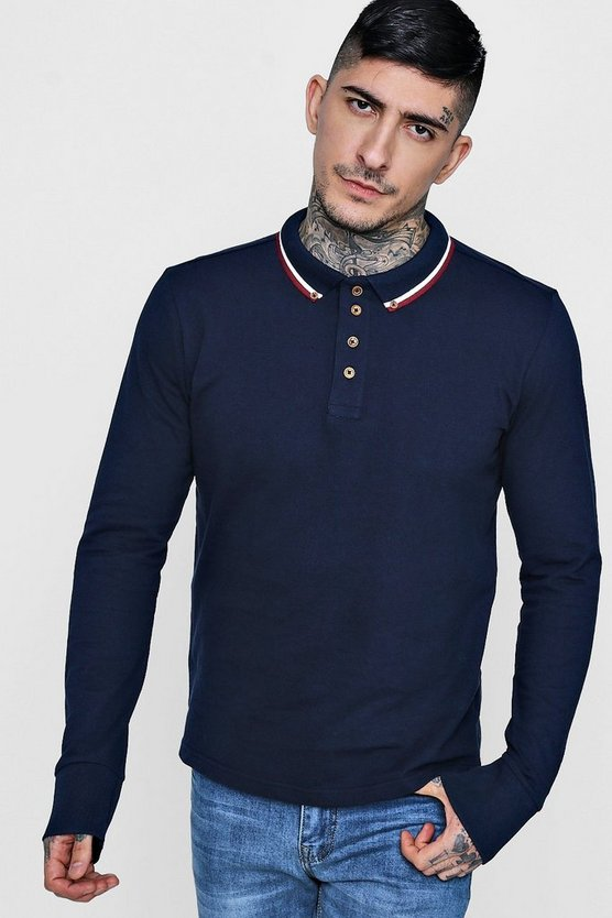Long Sleeve Pique Polo With Tipping