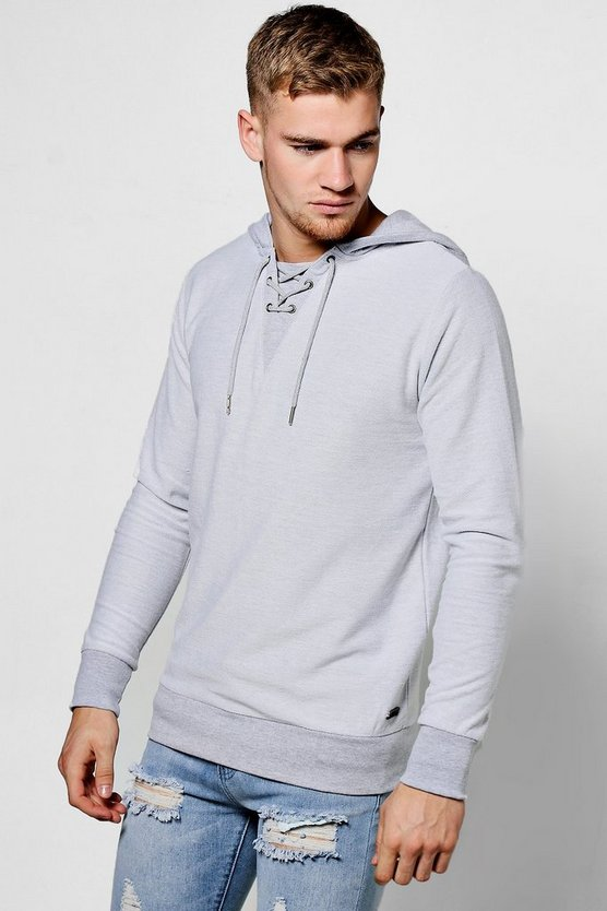 Loop Back Hoodie With Lace Up Detail