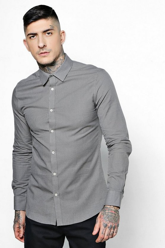 Mens Grey Long Sleeve Polka Dot Jacquard Shirt