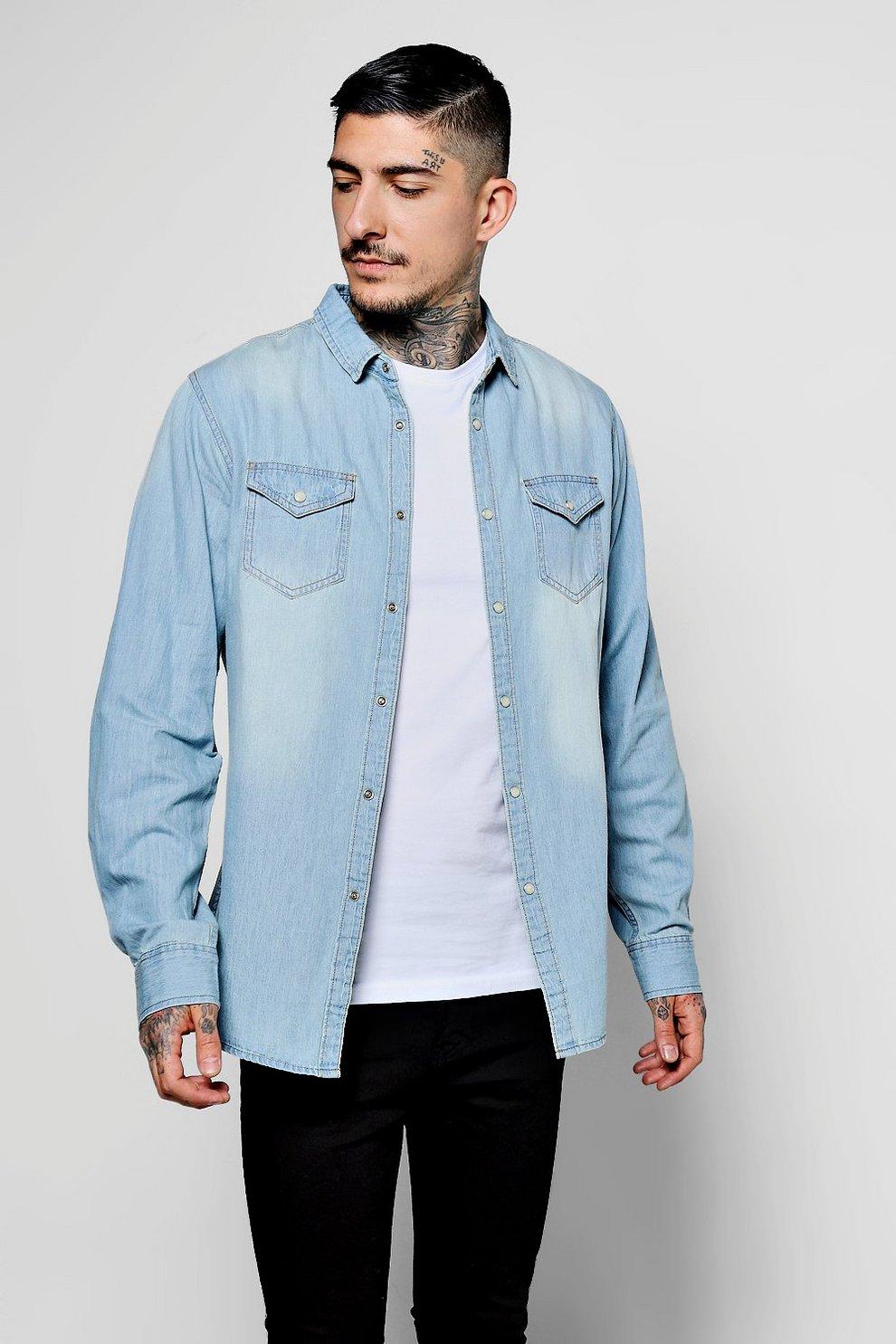 209786e03934 Pale Blue Wash Long Sleeve Denim Shirt With Double Pockets | Boohoo