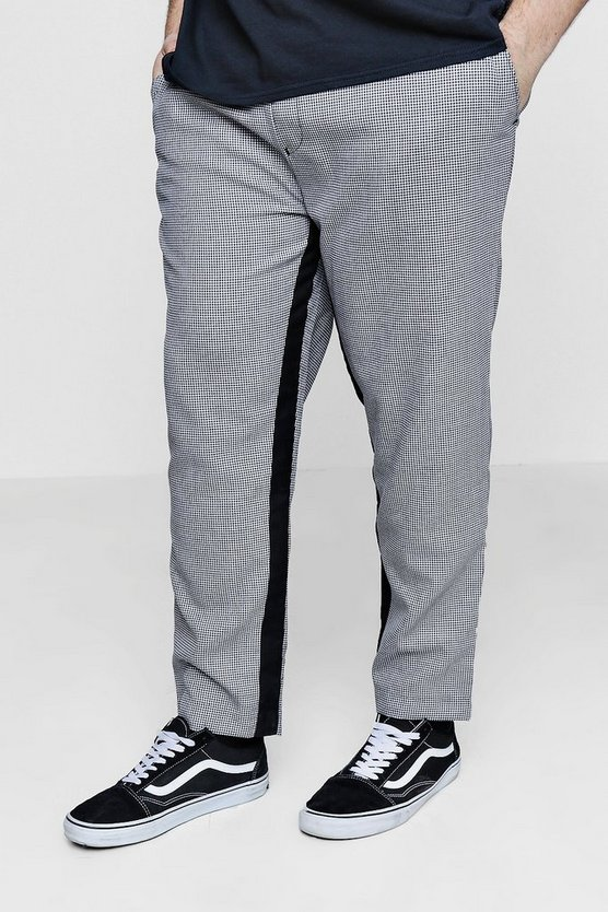 Big And Tall Dog Tooth Jogger With Panel Detail by Boohoo Man