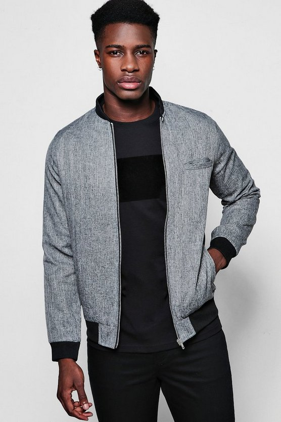 Skinny Fit Textured Bomber