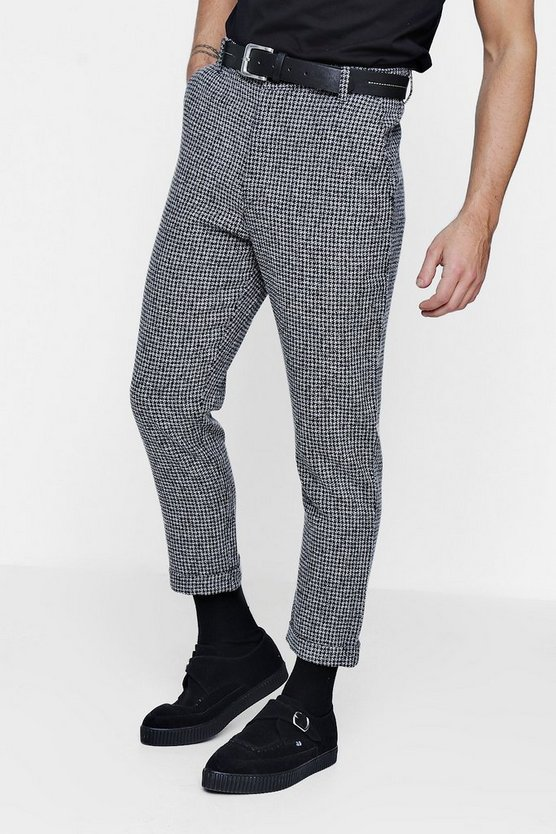 Wool Dogtooth Formal Trouser With Turn Up
