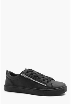 Black Croc Effect Zip Trainer