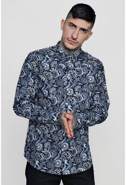 Mens Grey Paisley Print Long Sleeve Shirt