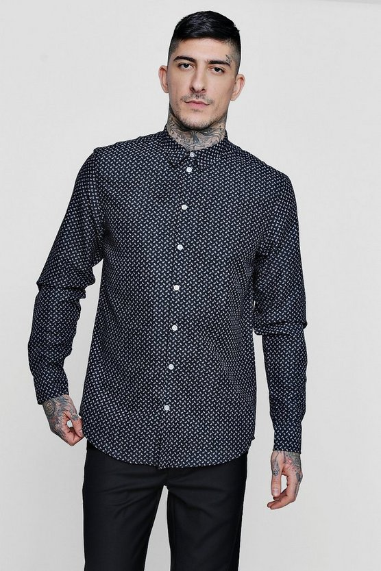 Mini Paisley Print Long Sleeve Shirt