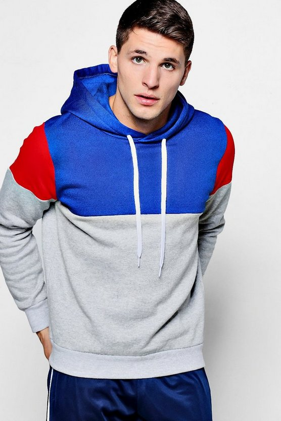 Colour Block Three Panel Hoodie