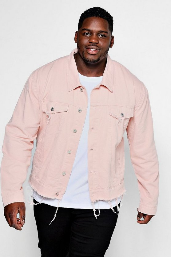Big And Tall Dusky Pink Denim Jacket