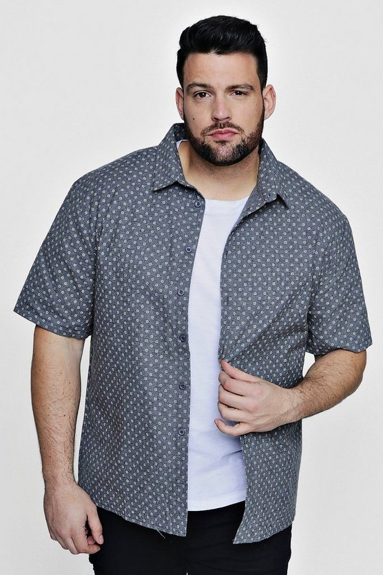Big And Tall Ditsy Print Short Sleeve Shirt