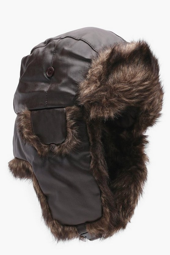 Fur Lined Faux Leather Trapper